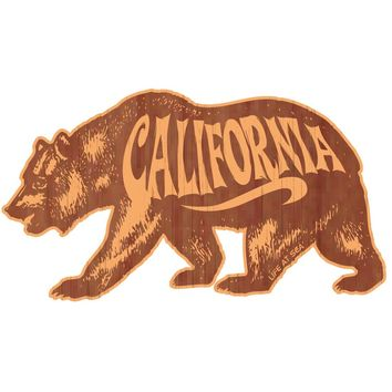 California Bear Wood Sticker
