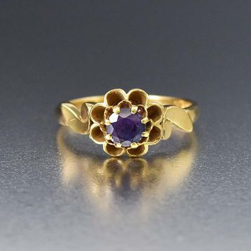 Antique 14K Gold Alexandrite Color Change Sapphire Ring