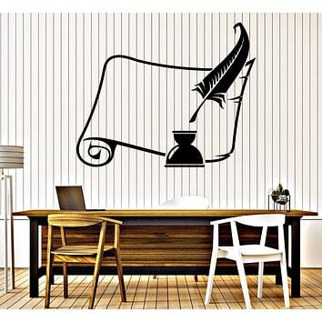 Wall Stickers Vinyl Decal Old Scroll and Inkwell with a Feather Unique Gift (z4713)