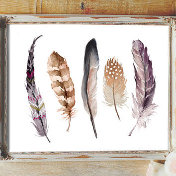 Feather print, feathers, feathers wall art, feather printable, feather art print, watercolor feathers, feather wall decor, tribal feathers,