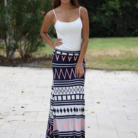 Navy and Neon Pink Chevron Maxi Skirt