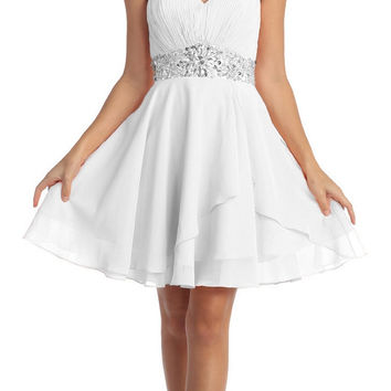 Short Chiffon Semi Formal Dress Off White Rhinestone Waist