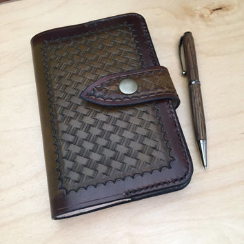 Moleskine Pocket Leather Notebook Cover, hand tooled, basketweave