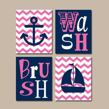 NAUTICAL Bathroom Wall Art, Anchor Sailboat Canvas or Prints Nautical BATHROOM Decor, Ocean Navy Pink, Set of 4, Wash Brush Rules Decor