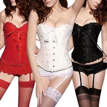 Corsets For Women Sexy Lace Up Satin Retro Corset Brocade Floral Bustier Back Lingerie Bodyshaper Waist Shapewear With g-string