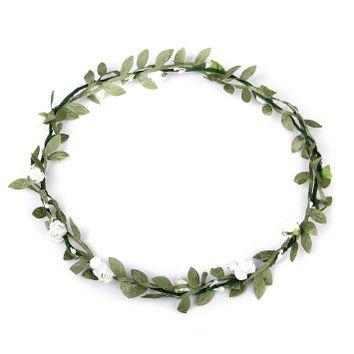 Rose Flowers Branch Festival Wedding Garland Head Wreath Crown Floral Halo Headpiece Photography Tool Adult Size (White + Green)