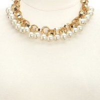Chain & Pearl Collar Necklace by Charlotte Russe - Gold