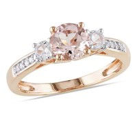6.0mm Morganite, Lab-Created White Sapphire and Diamond Accent Ring in 10K Rose Gold