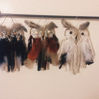 Owl Dreamcatcher with Faux Feathers and Beads || Dorm || Apartment || Hippie || Bohemian