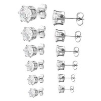 Women's 3~8mm 12 PCS Stainless Steel Stud Earrings CZ Silver Tone Set ( 6 Pairs )