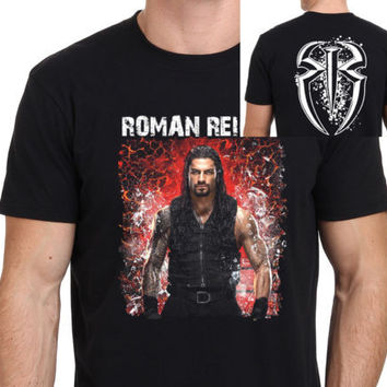 ROMAN REIGNS Pro Wrestling T shirt Men two sides From Ashes to Empire casual 100% cotton gift tee USA Size S-3XL