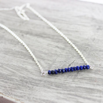 Blue Gemstone Necklace, Gemstone Bar Necklace, Dark Blue Necklace, Lapis Lazuli Necklace, Sterling Silver Necklace, Simple Delicate Necklace