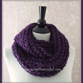 Purple Plum Crochet Infinity Scarf Eggplant Fall Winter Colors Wide Chunky Cowl Neckwarmer Handmade