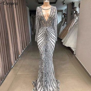 Silver Sparkly See Through Long Sleeve Beaded Crystals Formal Women Evening Dress Ball Gown
