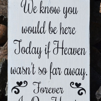 Wedding Sign In Memory Of Loved Ones Heaven Plaque Wood Signs Memories Ceremony Decor Memorial Rustic Hand Painted Reclaimed Wood