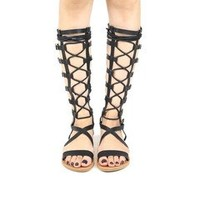 High Gladiator Sandals - Black