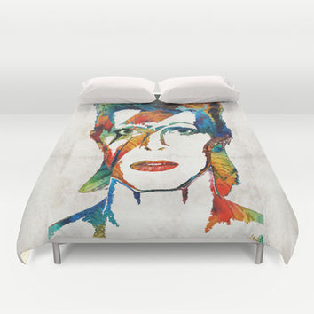 David Bowie Art Tribute by Sharon Cummings Duvet Cover by Sharon Cummings