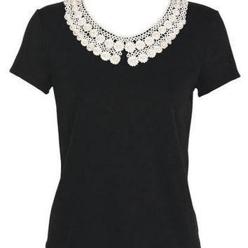 Lace Collar Short-Sleeve