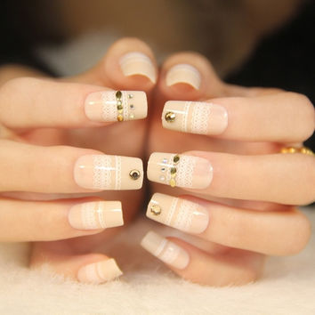 Elegant  lace middle-long size false nails false nails kit with glue french false nails short Cute Japanese fake nails acrylic Bride middle-long size full design nail tips fashion false nails set Nail art tool hand makeup (Color: Multicolor) = 1930068548