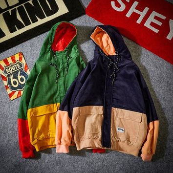 YouthCodes Splicing Hooded Jackets Men Pullover Patchwork Thick Kanye West Outwear Season 4 Fashion Cotton Corduroy Flannel Coat