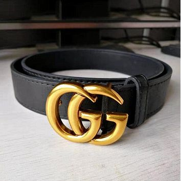 GUCCI Vogue Boys Girls Double G Pearl Smooth Buckle Leather Belt I/A