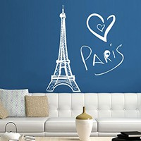 Eiffel Tower Wall Decal Vinyl Stickers Decals Art Home Decor Mural Vinyl Lettering Wall Decal Paris Silhouette France Bedroom Dorm ZX252