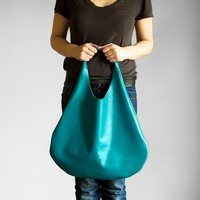 Turquoise  Leather Hobo Bag