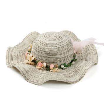 Womens Braided Flower Sun Hat for Summer Beach Holiday Vacation