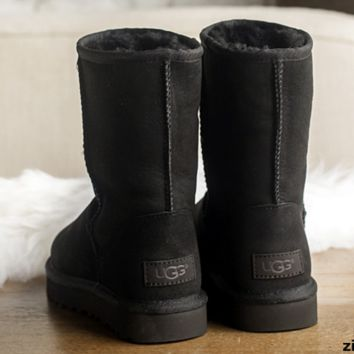 UGG Short boots antiskid warm lazy sheep fur simple ugg boots canister boots Black