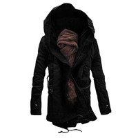 2018 hot men's long warm jacket men's fashion hooded winter garment jacket