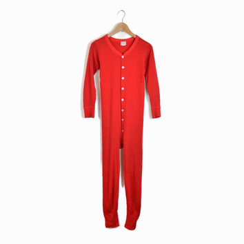 Vintage 70s Red Two Layer Union Suit - Long Johns Long Underwear Onesuit by Duofold - Men's Small