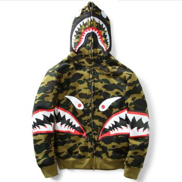 BAPE SHARK Autumn and winter tide brand camouflage Star Shark couple sweater men and women models zipper luminous hooded plus cashmere coat-2