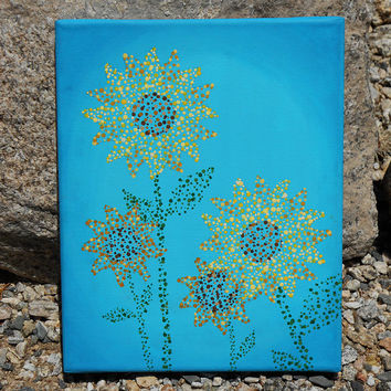 Sunflower Decor, Nursery Art, Hand Painted 8x10 Canvas, Turquoise and Yellow Painting, Bright Painting, Nursery Decor, Sunflower Painting