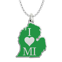 I Love Michigan Sterling Silver State Shape Necklace