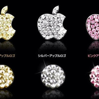 iPhone IPod Touch  Paved Diamond Crystal Apple Logo Back Sticker and Home Button
