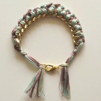 Pastel braid tassel gold chain friendship bracelet / mint green blue lavender purple, recycled vintage, adjustable, braided woven thread