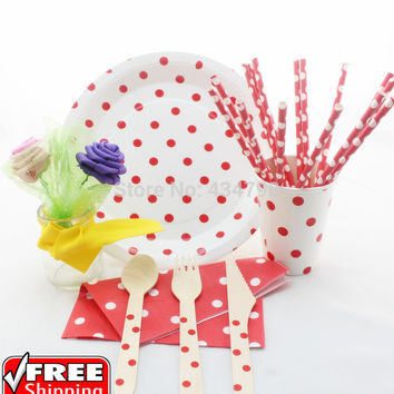 356 pieces/lot Flatware Dinnerware Tableware Set Red Polka Dot-Christmas Party Paper Straws+Cups+Plates+Napkins+Wood Utensils