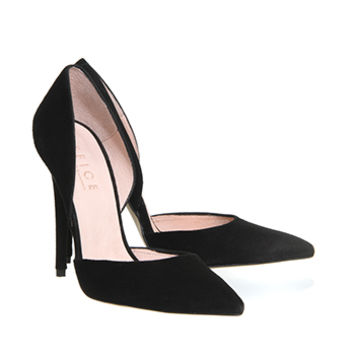 Office Panther 2 Part Court Black Suede - High Heels