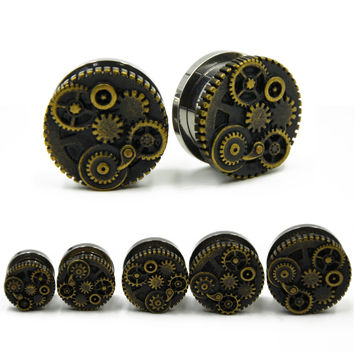 Screw Fit Steampunk Wheel Design Flesh Tunnel Plug Jewelry Ear Gauge Piercing