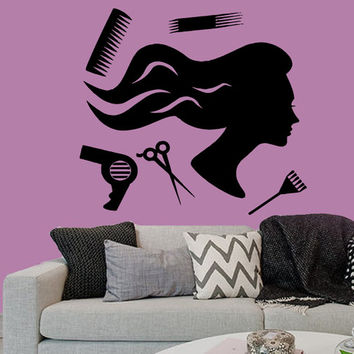 Wall Decals Fashion Girl Hair Accessories Hairdressing Salon Beauty Salon Home Vinyl Decal Sticker Kids Nursery Baby Room Decor kk300
