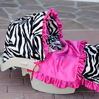 Zoe Zebra Infant Car Set Cover