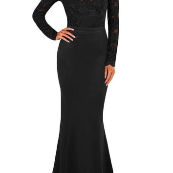 Black Lace Long Sleeve Bow Back Maxi Party Dress