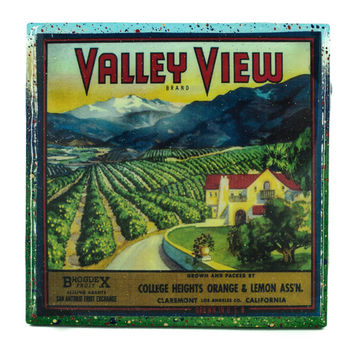 Handmade Coaster Valley View Brand - Vintage Citrus Crate Label - Handmade Recycled Tile Coaster