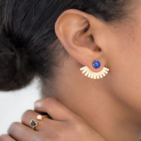 Lapis Ear Wings/ Ear Jackets/ Ear Cuffs/ Gold Ear Cuffs/ Lanie Lynn Vintage Inspired Jewelry/ Edgy Lapis Earrings/ Interchangeable Earrings/