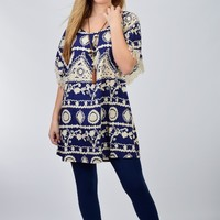 Umgee Navy Printed Day Dress with Fringe on Sleeves