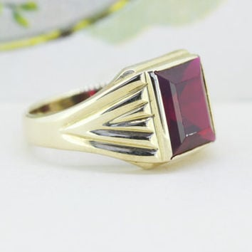 Vintage Art Deco Ring | Antique Mens Ring | 10k Yellow Gold Cocktail Ring | Spinel Gemstone Ring | Bold Statement Ring | 1930s Ring | Size 7