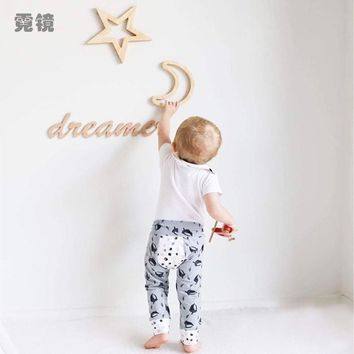 Ins Nordic Style Moon Rabbit Bunny Star Wooden Wall Sticker Decor Diy Wood Craft Decoration For Children Baby Bed Room GPD8239