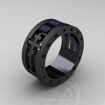 Dmitry Donskoy Mens 14K Matte Black Gold Black Diamond Channel Cluster Wedding Band R419M-14KMBGBD