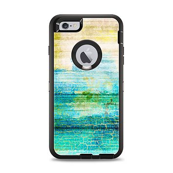 The Faded and Cracked Green Paint Apple iPhone 6 Plus Otterbox Defender Case Skin Set