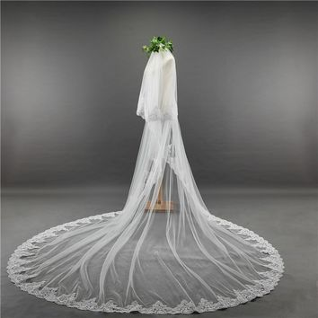 Lace Appliques Top Grass Long Tail One-Layer Lace Edge Long Train Bridal Veil For Wedding Dress